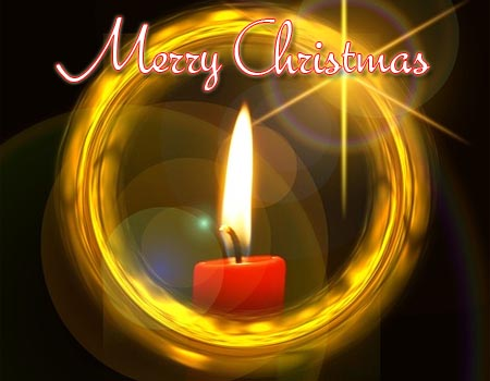 Merry christmas wishes with a candle